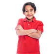 Happy Smiling Young Boy in Red Polo Shirt with Arms Crossed