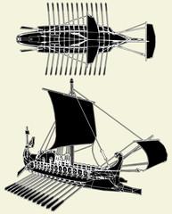 The Ancient Roman Ship Vector 04