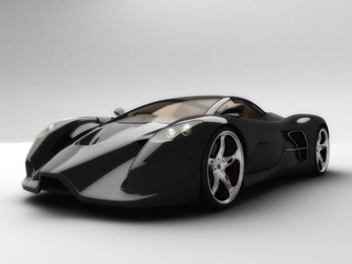 Super Black Sport Car front View