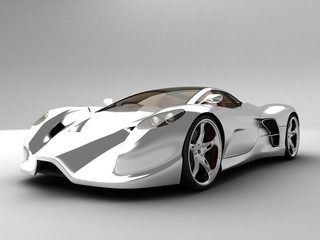 Super Silver Sport Car perspective view
