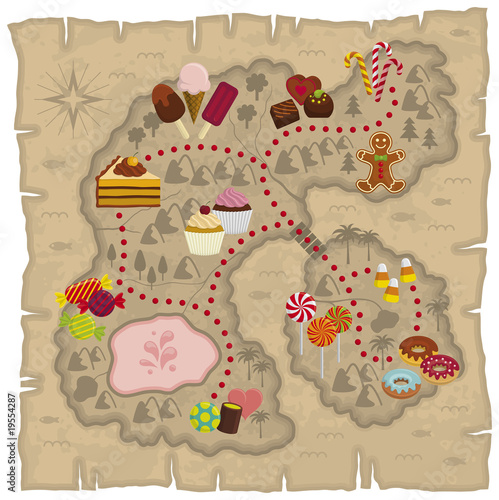 Illustration of kids dreamland map – candies and sweets land map - 19554287