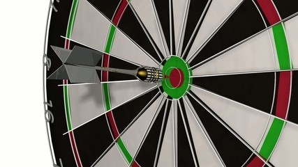 Dart Pfeil fliegt mit Volltreffer ins Ziel