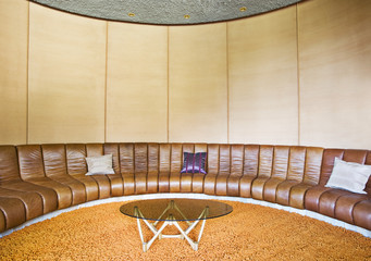 Booth-type seating in retro living room