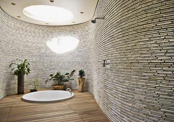 Sunken tub in modern bathroom