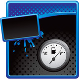 gas icon blue and black halftone grungy banner poster
