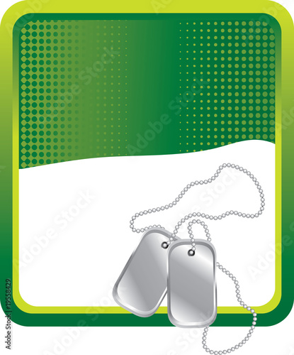 dog tags green background