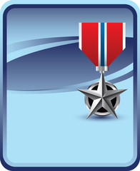 military medal blue backdrop