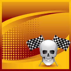 racing flags and skull orange halftone banner