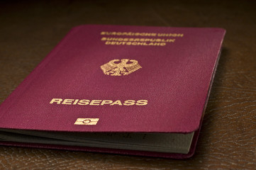 german passport on leather
