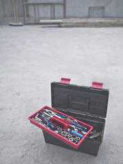 Tools in toolbox at construction site