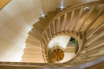Spiraling wooden staircase