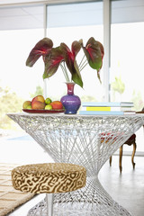 Anthuriums in vase on modern table