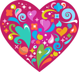 retro heart with many decorative graphic design elements