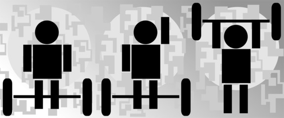 Illustration of peoples lifting to the wait lift bar