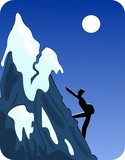 Illustration of a silhouettes climbing through mountain