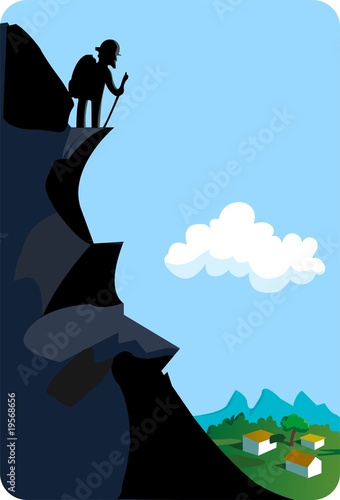 silhouettes climbing through mountain