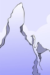 Illustration of a cliff of high mountain