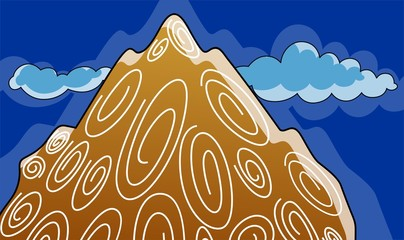 Illustration of a cliff of colourful mountain