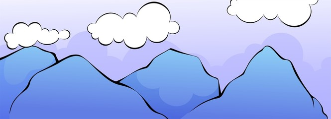 Illustration of a cliff of blue mountain with clouds