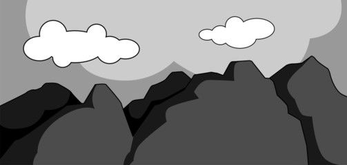 Illustration of a cliff of blue mountain