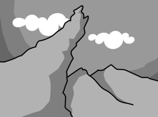 Illustration of a cliff of highly mountain