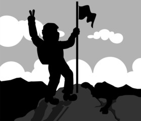 silhouettes climbing through mountain with flag