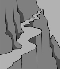 Illustration of a cliff of mountain with road