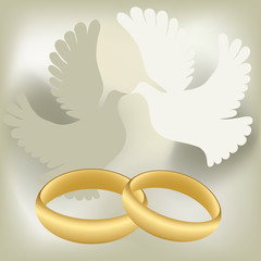 Wedding rings with pigeons