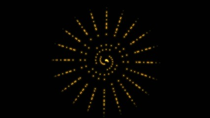 Computer generated yellow spiral that spins,seamless loop.