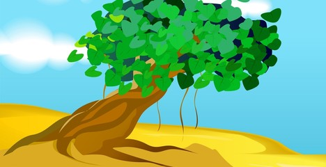 Illustration of tree with leaf in a sky background