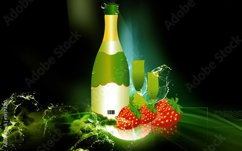 Illustration of strawberry with wine bottle