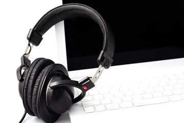headphone and laptop computer
