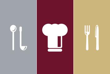 Elegant Restaurant Symbols - wooden spoon, cook cap, knife, fork