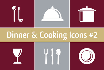 Dinner and Cooking Icons #2 - elegant style