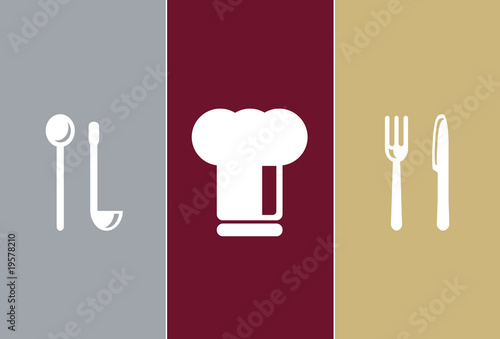Elegant Restaurant Symbols - wooden spoon, cook cap, knife, fork