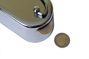 Money box with coins