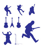 silhouette of Guitar and guitarist vector illustration