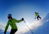 Fototapeta Freeride skier (double exposure)