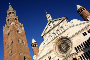 duomo cathedral with torrazzo tower, cremona, italy