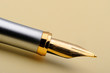 Gold fountain pen closeup