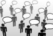 Everybodys talking speech bubble communication people