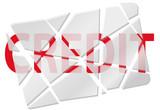 Broken card symbol of bad credit debt poster