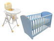 child's bed and chair