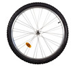 Leinwandbild Motiv Front wheel of a mountain bike isolated on white