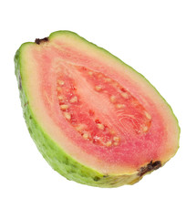 Cross section of a pink guava isolated on white