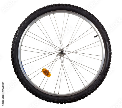 Front wheel of a mountain bike isolated on white - 19588827