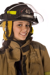 happy firewoman