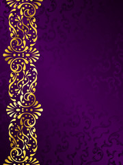 Purple background with a gold filigree margin
