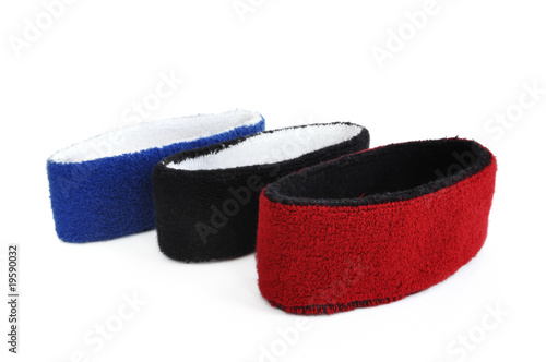 Red, Black & Blue Sweatbands (Headbands) Isolated on White