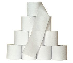 A pyramid of toiletpaper